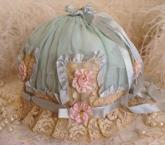 Circa 1910s Extraordinary French Chiffon Boudoir Cap Adorned With Ruffled Ribbons Lingerie Lace and Pink Silk Ribbon Rosettes Original Tag Still Intact