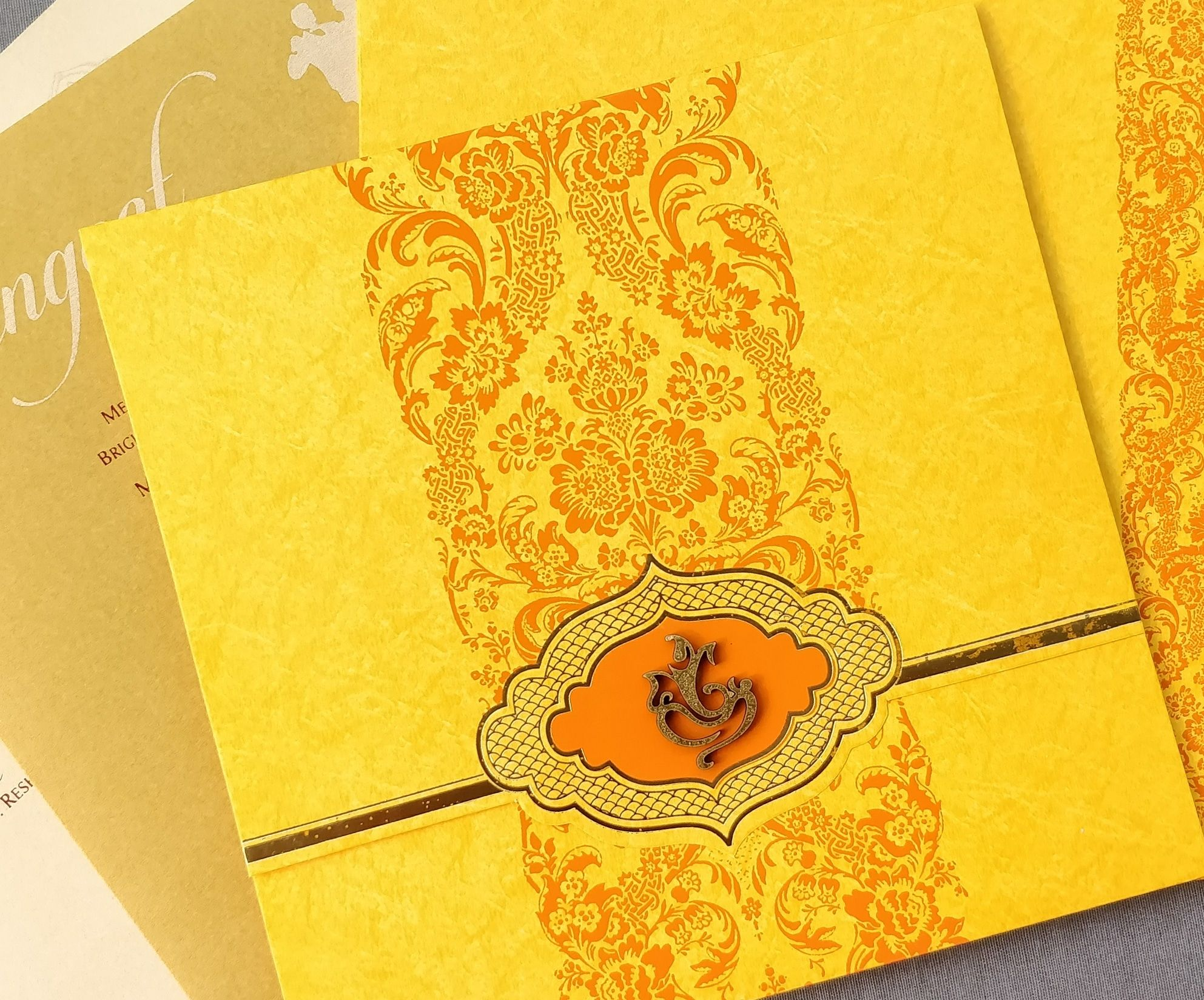 Yellow Colour Wedding Invitation In Indian Ganesha Theme