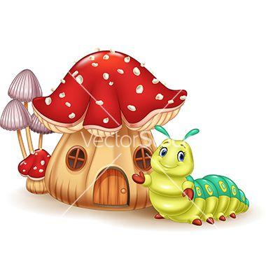 Beautiful mushroom house and cute caterpillar vector
