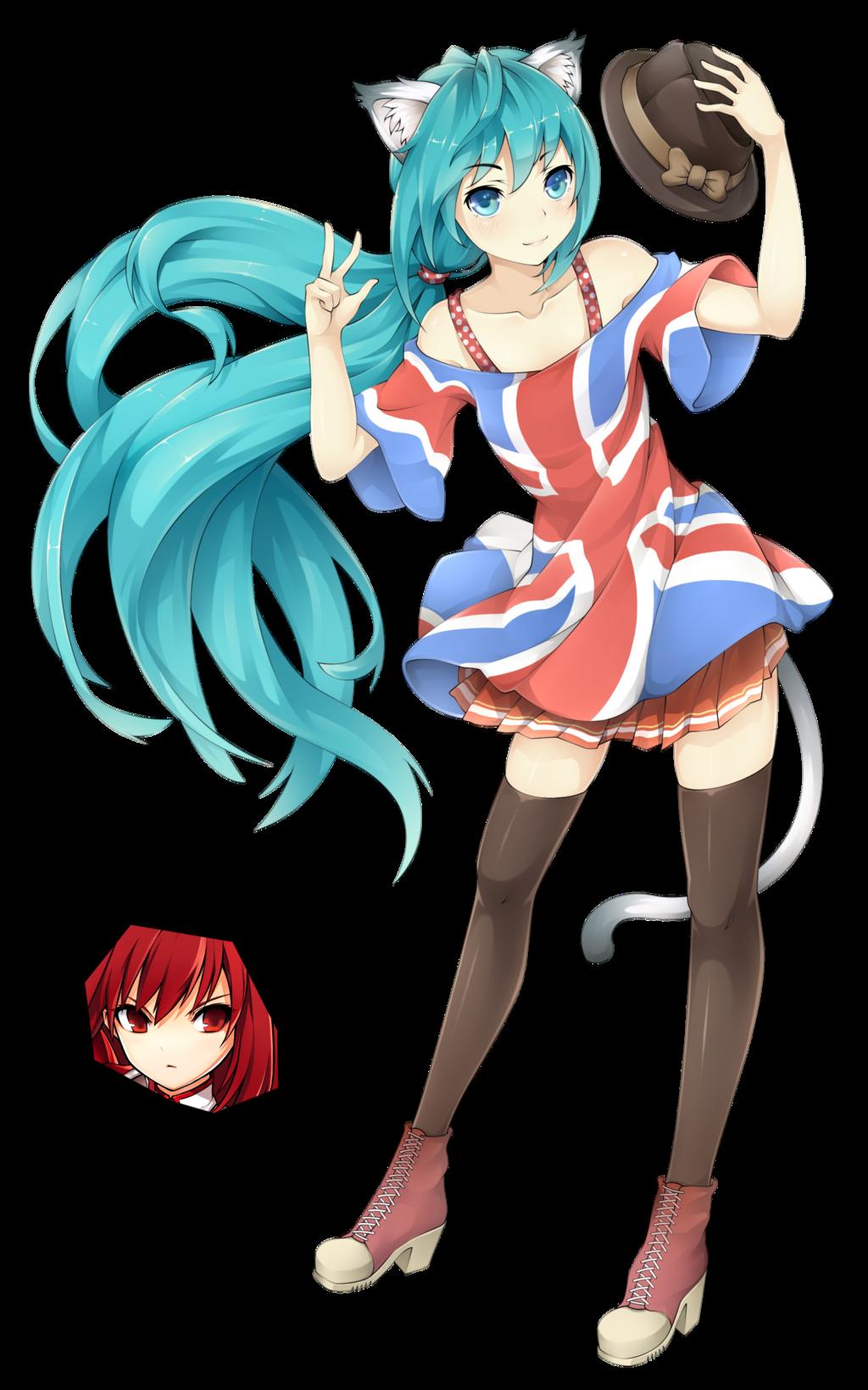 Miku Hatsune Neko Et Un Haut Motif Drapeau Angleterre Neko