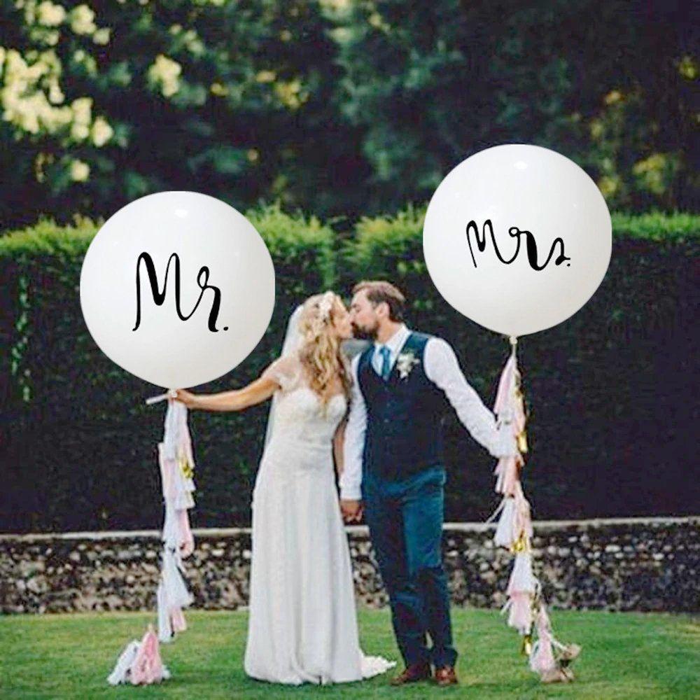 Set mit 2 riesigen weißen Luftballons, 36-Zoll-Hochzeitsballons Mr. & Mrs, runde Latexballons