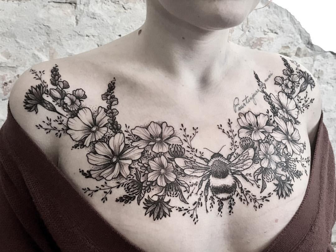 MARET BROTKRUMEN Chest tattoos for women, Chest piece