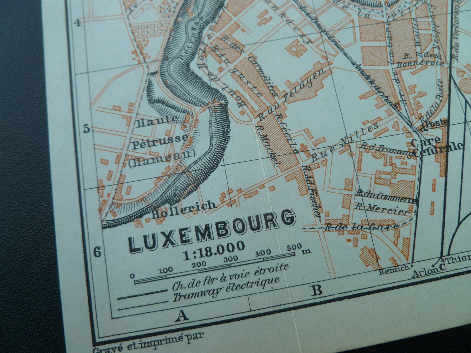 Over 105 years old map of Luxembourg