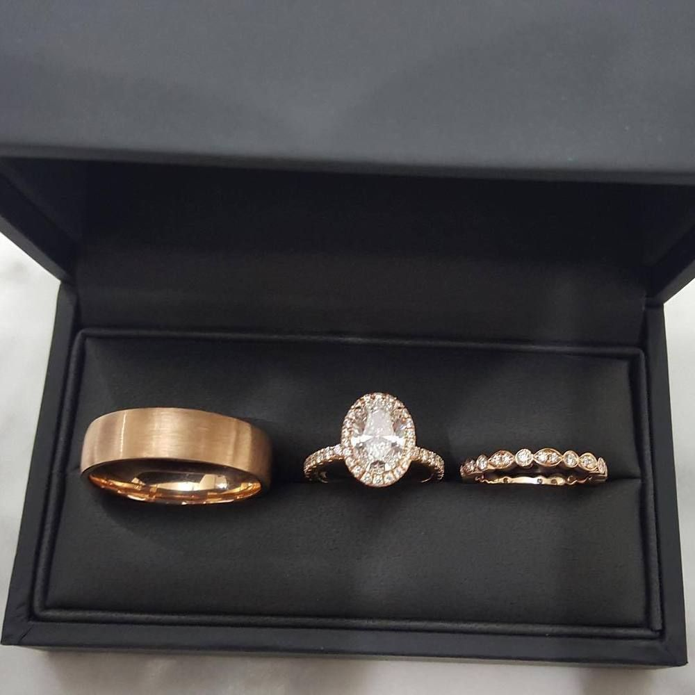 Solid 14k Rose Gold Diamond Wedding His And Her Trio Set Bridal Engagement Diamond Wedding Bands Wedding Ring Sets Wedding Rings Engagement
