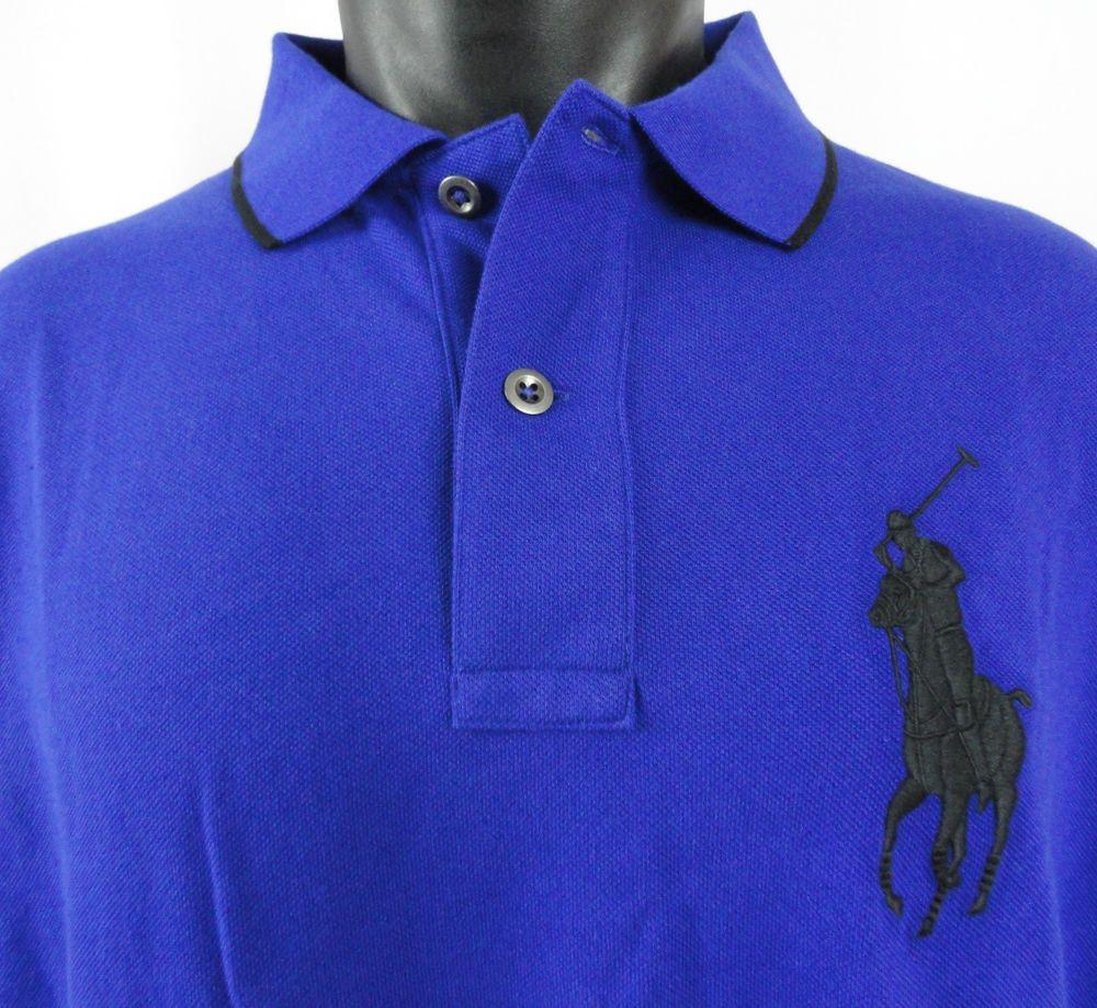 NWT Polo Ralph Lauren Mens XLT Rugby Shirt Big Pony Royal Blue Black Long  Sleeve