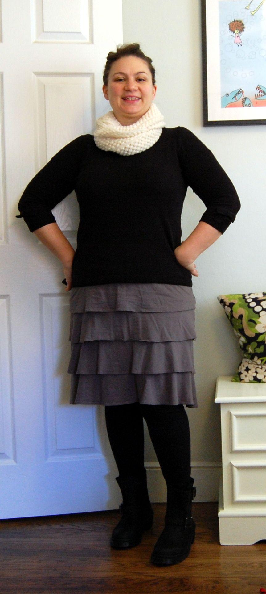 Ebay Scarf, Gap Outlet Sweater, Garnet Hill Flamenco Skirt, Dr. Marten boots