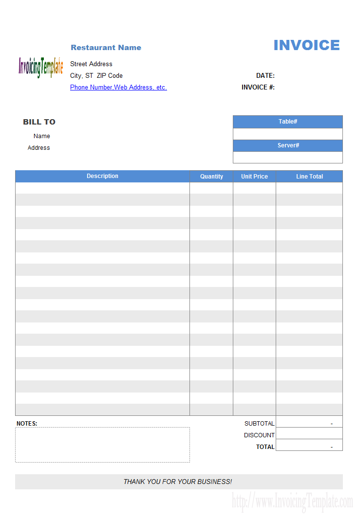 Restaurant Dining Invoice Template No Tax Invoice Sample Invoice Template Invoice Format