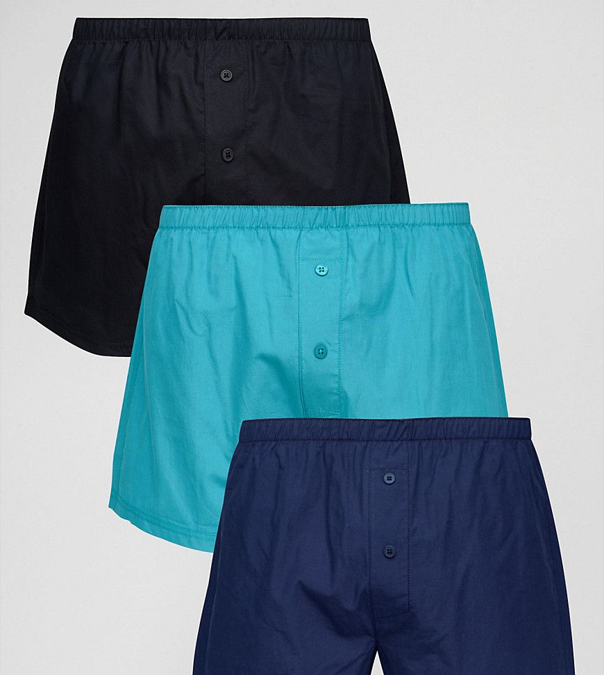 ASOS Woven Boxer In Blue 3 Pack SAVE - Blue