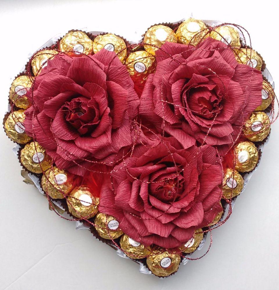 Valentine\'s Day Heart Ferrero Rocher Candy Flower Bouquet Handmade ...