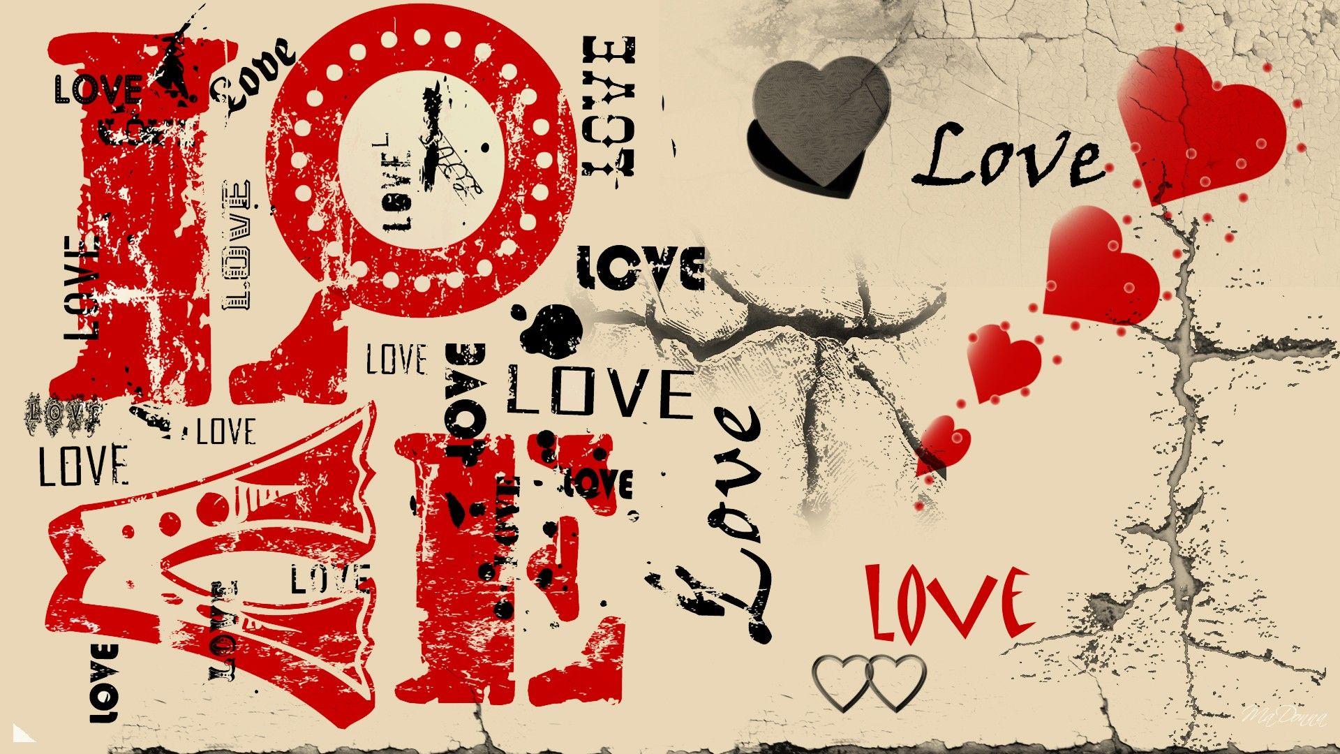 Vintage Valentine's Day Backgrounds   Love grunge cracked vintage valentines day HD Wallpaper