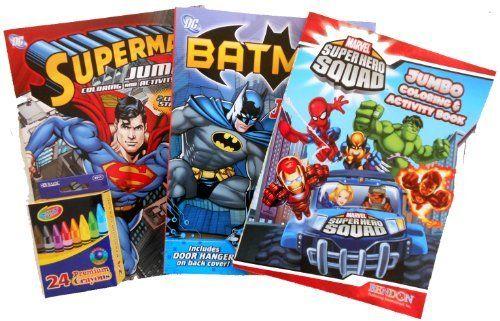 Batman Superman And SuperHero Squad Coloring Book Activity Bundle With A Bonus Pack Of