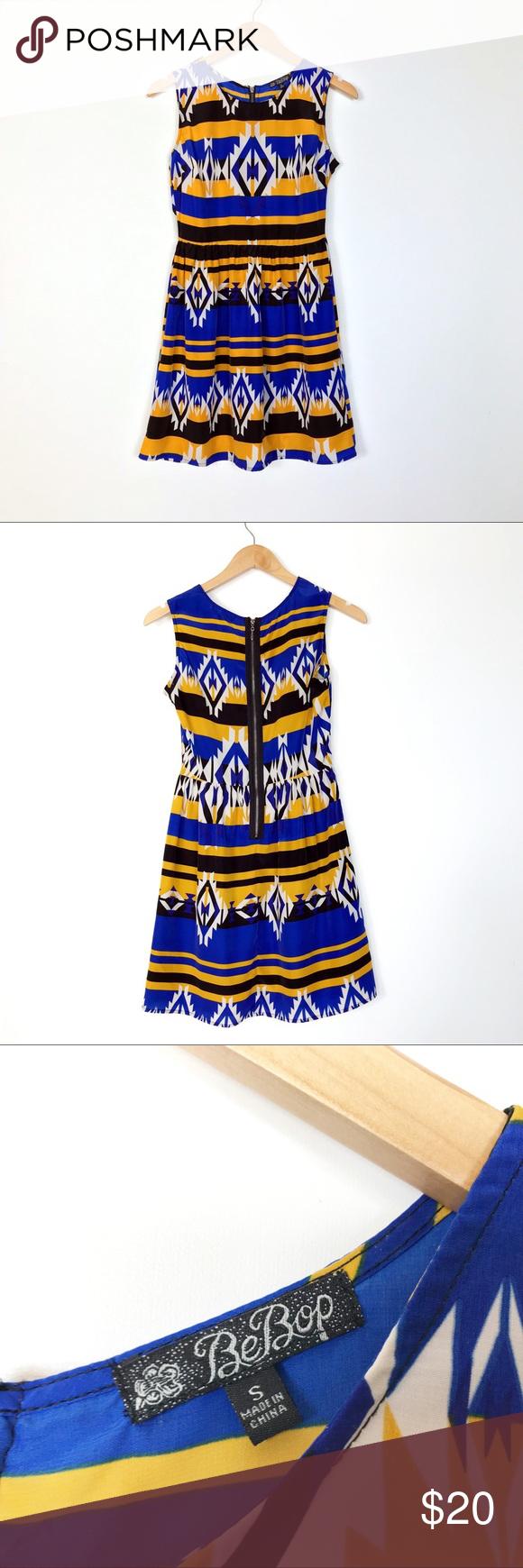 Bebop Aztec Tribal Print Blue Yellow Dress S Fashion Blue And Yellow Dress Clothes Design [ 1740 x 580 Pixel ]