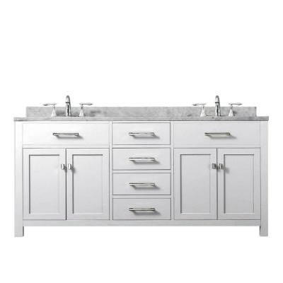 Water Creation Madison 60 In Vanity In Modern White With Marble Vanity Top In Carrara White Madison60w With Images Double Sink Bathroom Vanity Water Creation Bathroom Vanity
