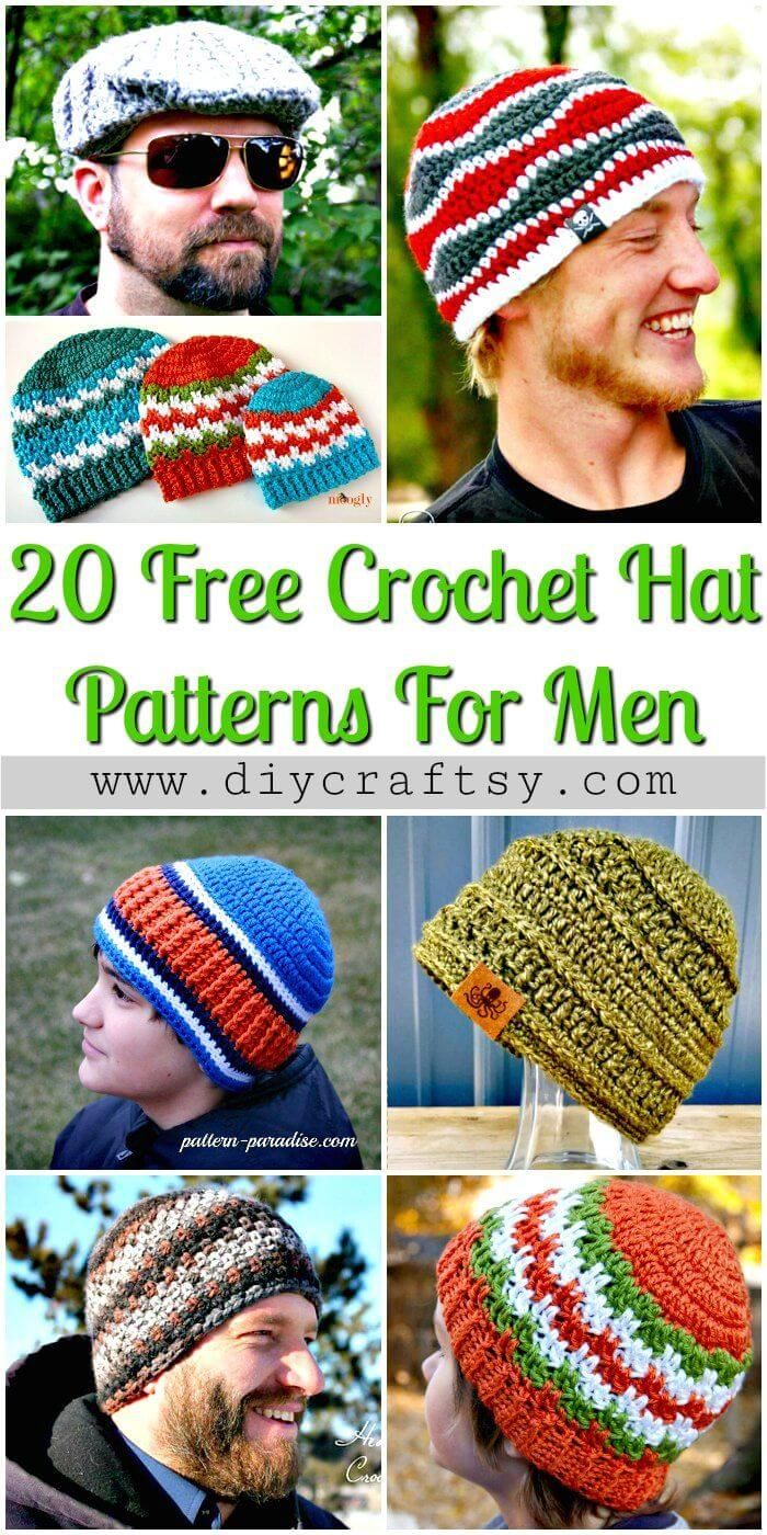 20 Free Crochet Hat Patterns That Adorable For Men\'s | Pinterest ...