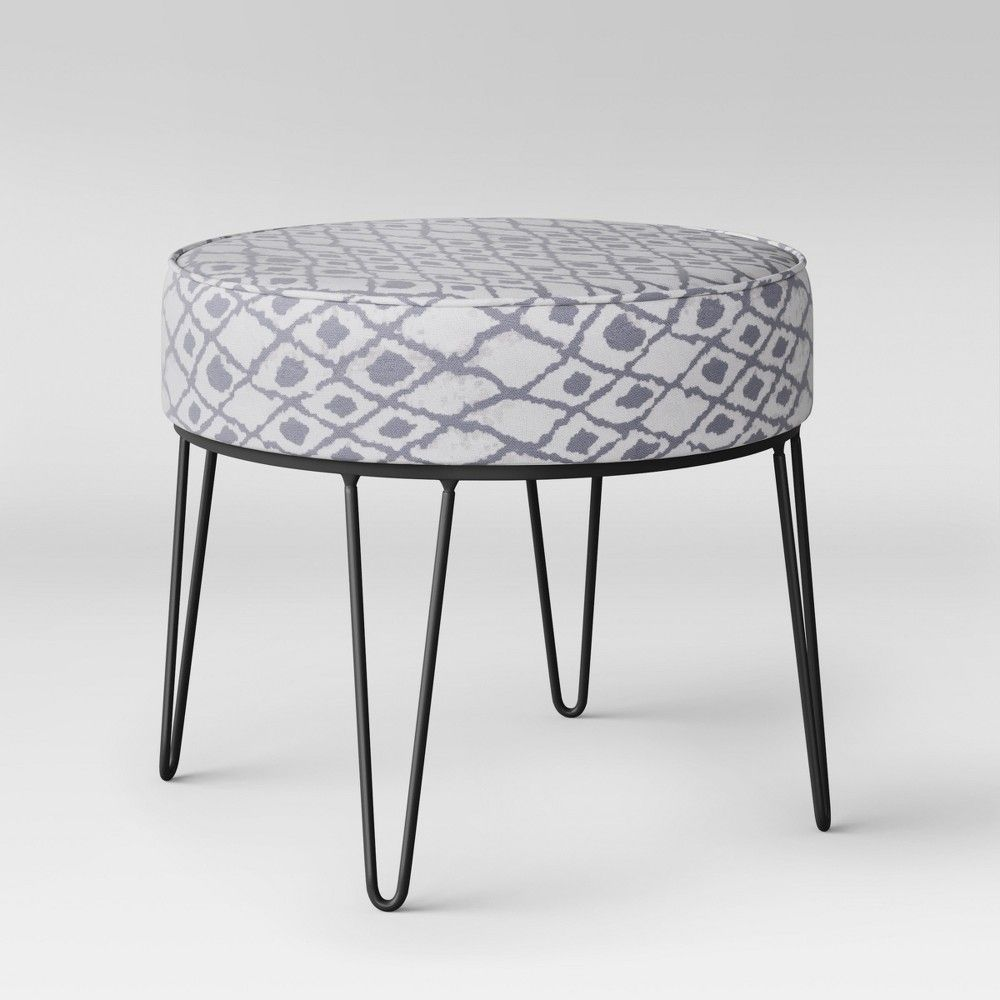 Enjoyable Carman Round Ottoman With Hairpin Legs Gray Ikat Project Gmtry Best Dining Table And Chair Ideas Images Gmtryco