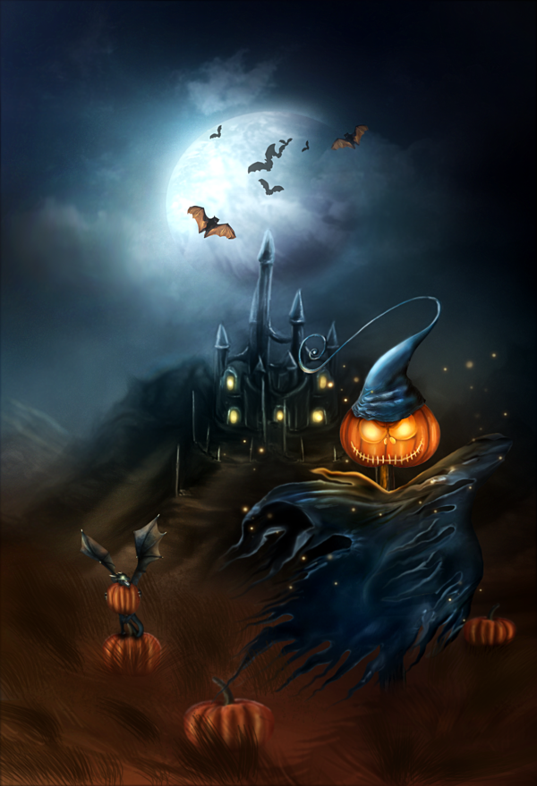 Amazing Examples Of Scary Halloween Witches And Pumpkins In Digital Painting