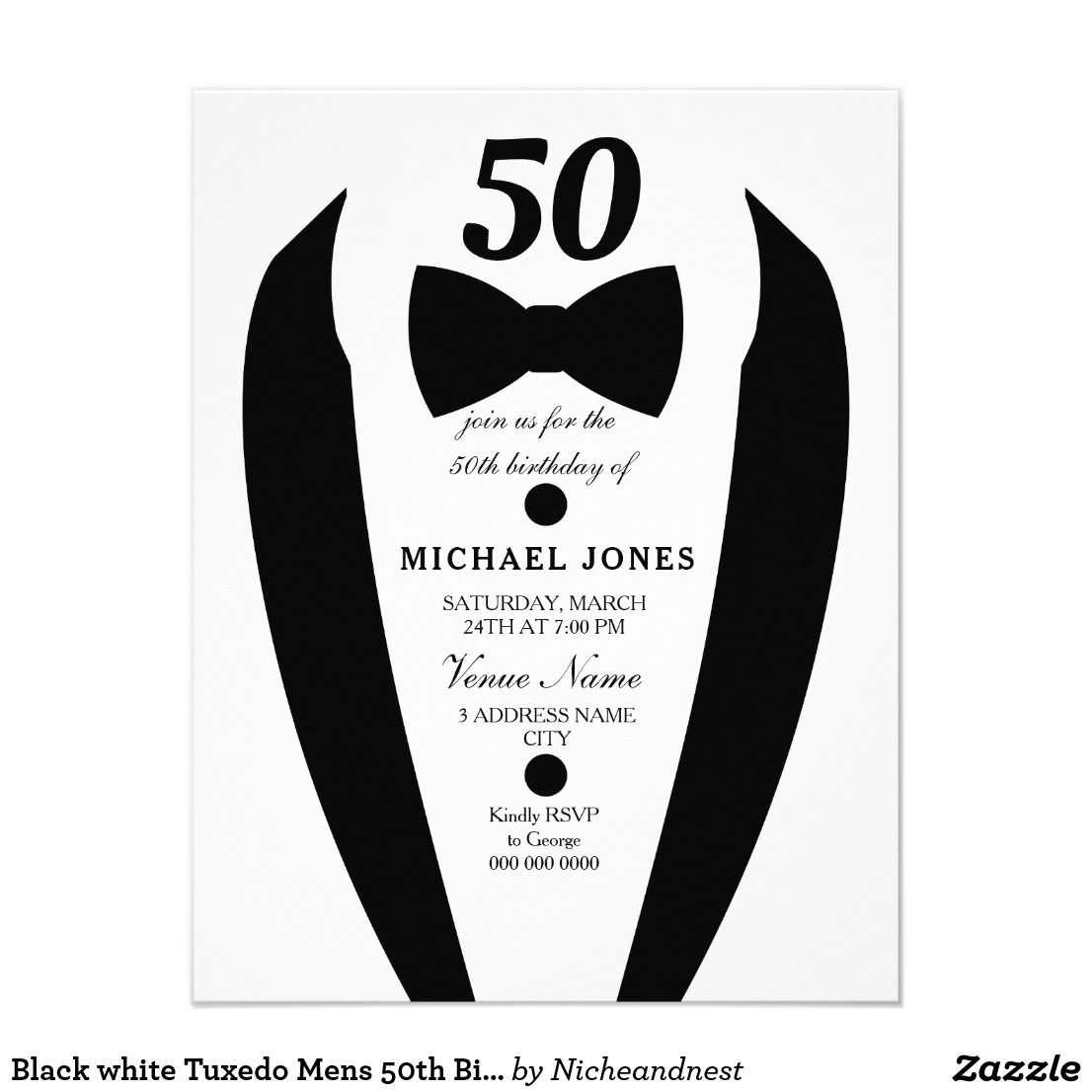 Black White Tuxedo Mens 50th Birthday Party Invite Matching Collection In Niche And Nest Store
