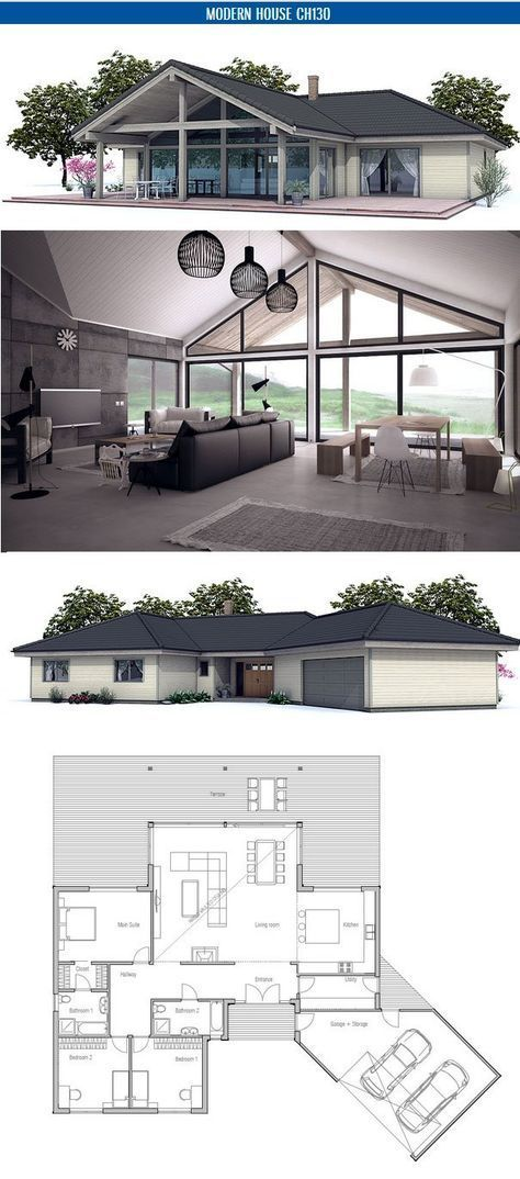 Small house floor plan with open planning Vaulted ceiling, three - Plan Architecture Maison 100m2