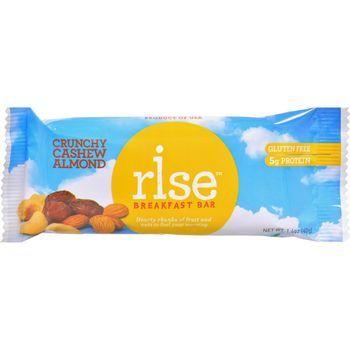 Rise Bar Breakfast Bar - Crunchy Cashew Almond - Case of 12 - 1.4 oz