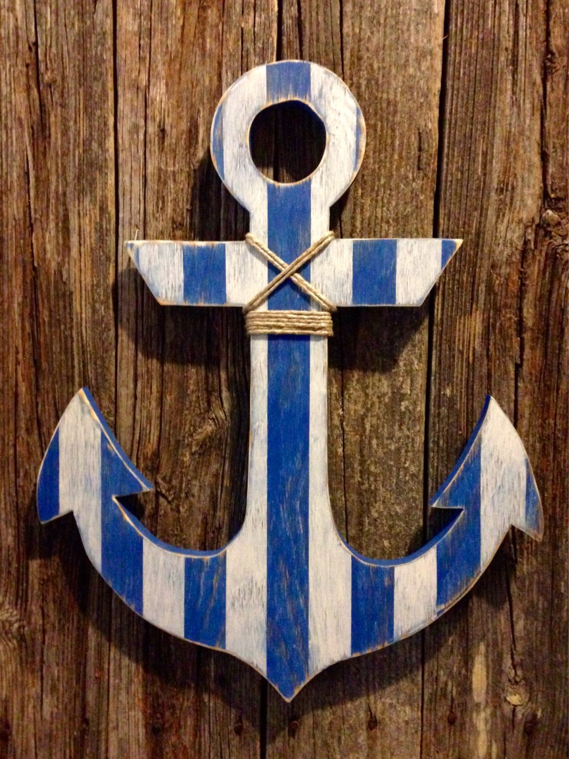 Large Distressed Dark Royal Navy And White Striped Wood