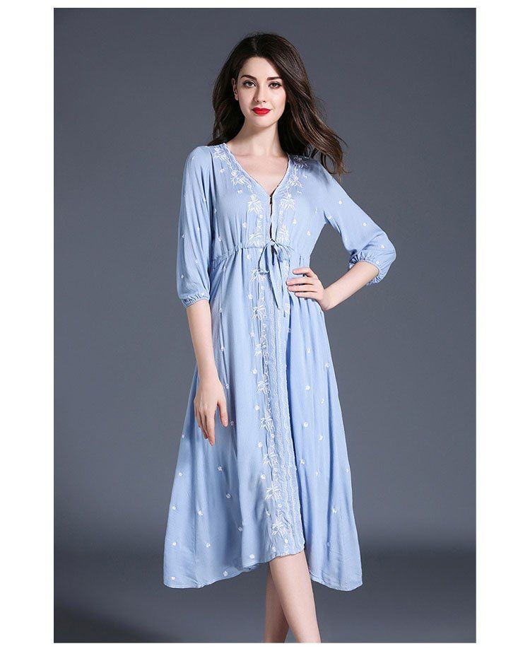 273d20ff339 Thailand Beach Dress Ladies Plus Size Ethnic Embroidered Dress Mid-Calf  Floral Cotton Linen Dress Jurken Embroidery