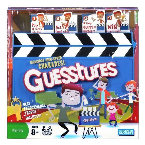 Guesstures by Hasbro. $22.28. From the Manufacturer                Get ready for hilarious, high-speed charades with Guesstures. Pop four cards into the Action Timer, then set it and start acting fast. The words may look easy, but you only have a few seconds to get your team to guess each one. Did your team guess right?                                    Product Description                Get ready for hilarious, high speed charades with Guesstures. Pop four cards into the Actio...