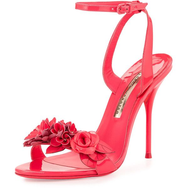 Sophia Webster Lilico Floral Patent Sandal (8.620 ARS) ❤ liked on Polyvore featuring shoes, sandals, heels, fluoro pink, high heel sandals, open toe sandals, neon pink sandals, strap sandals and ankle strap high heel sandals