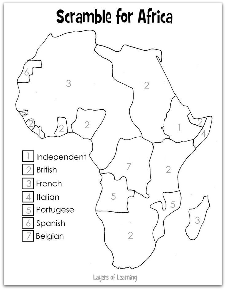 Scramble For Africa Map | Worksheets | World history classroom