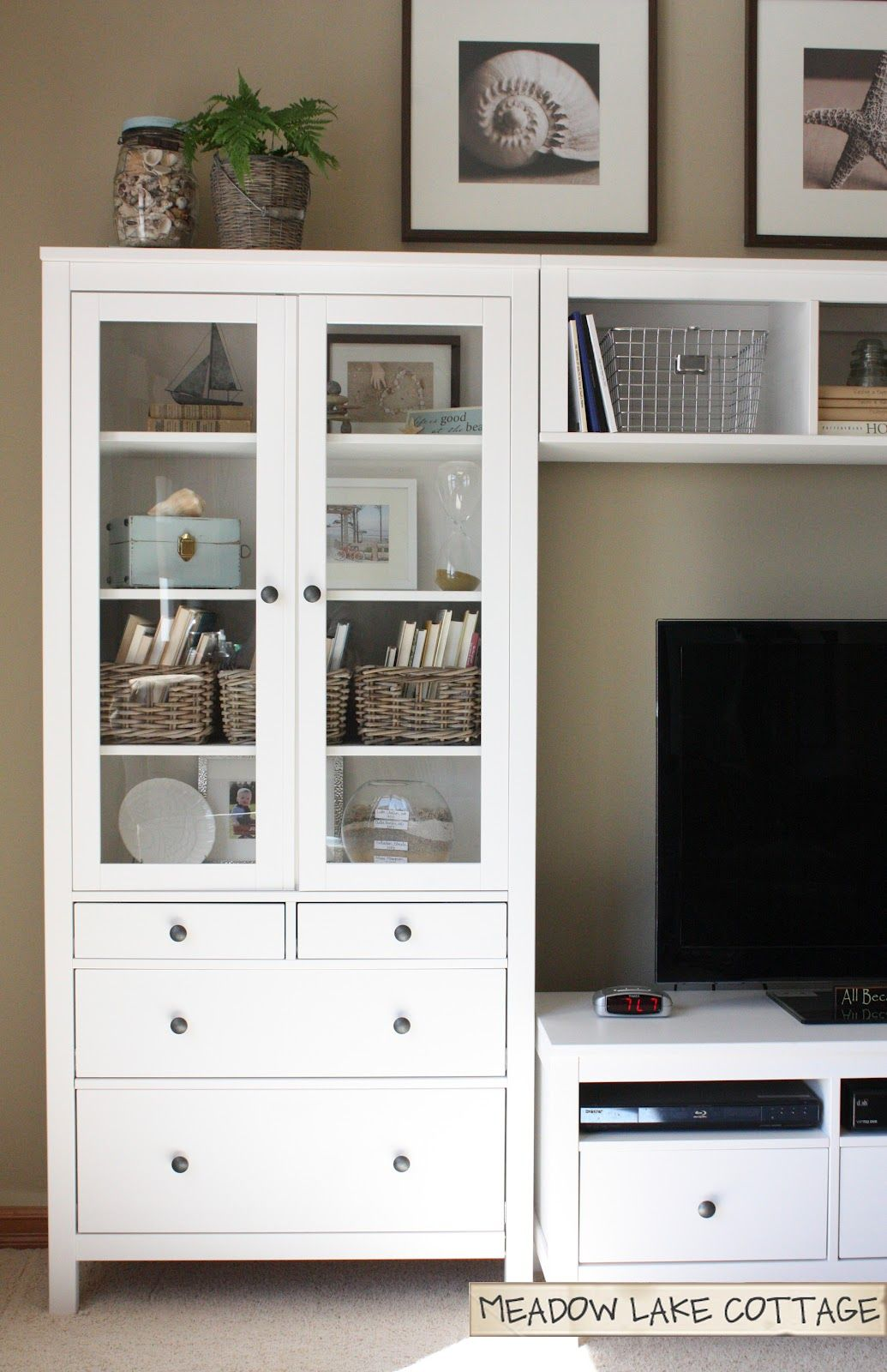 Accessorized White Entertainment Center | HEMNES, Entertainment and ...