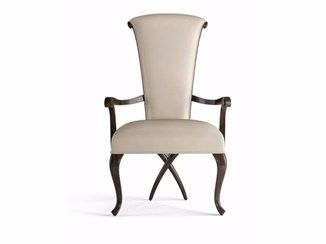 Upholstered leather chair with armrests EVA   Chair with armrests - Christopher Guy