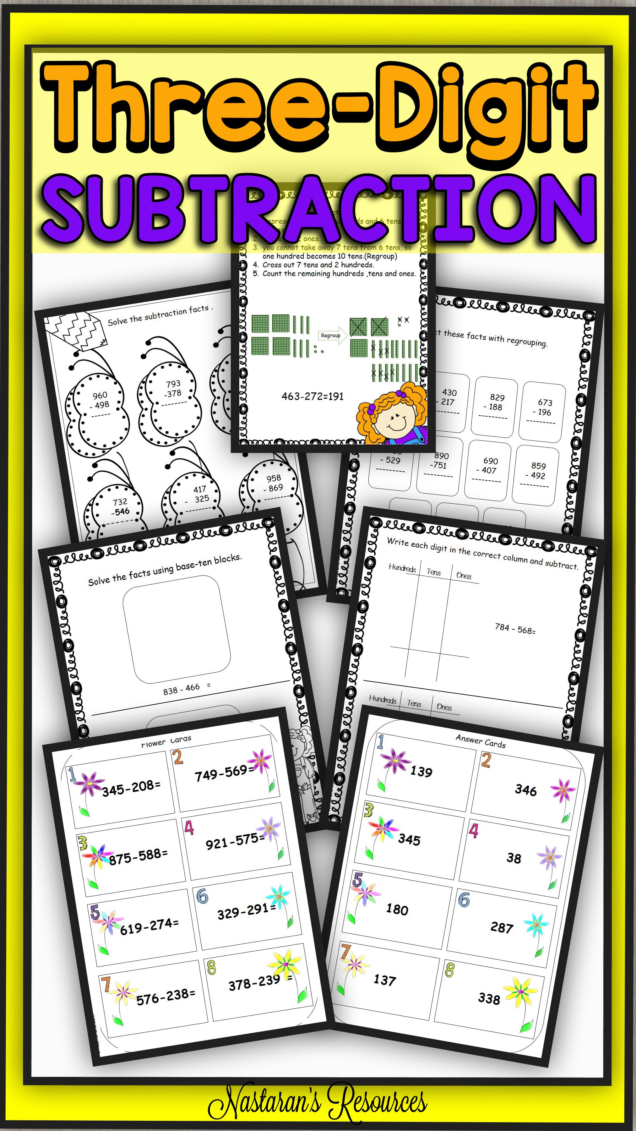 Three Digit Subtraction With Regrouping Worksheets