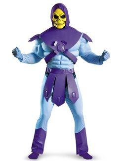 Mens Adults Skeletor Muscle Fancy Dress Costume Masters of the Universe Outfit