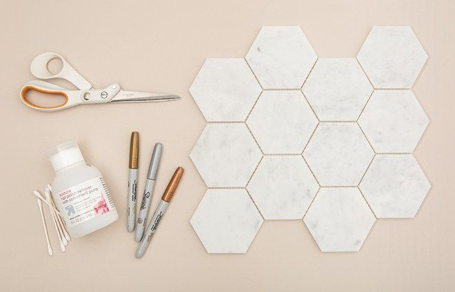 These DIY Hexagon Marble Tile Place Cards Are A MUST SEE