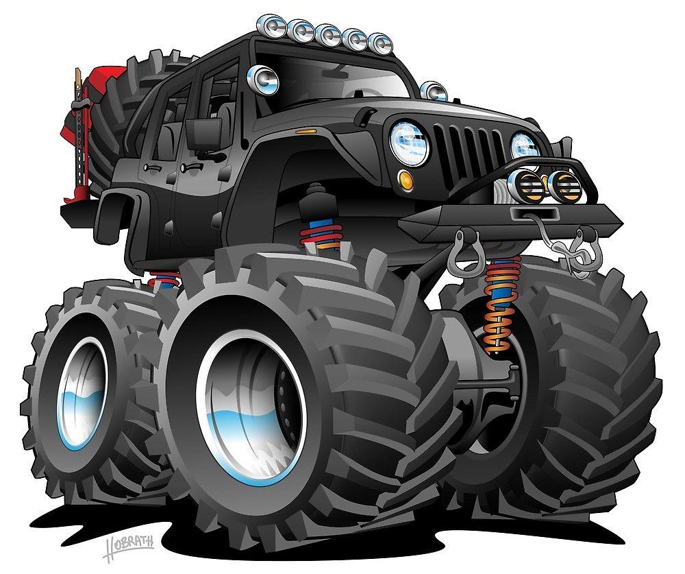 4x4 Off Road Black Jeep Jku Unlimited Cartoon By Hobrath Jeep Art Jeep Jku Offroad