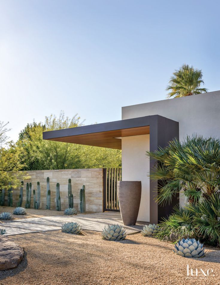 modern cream exterior with desert