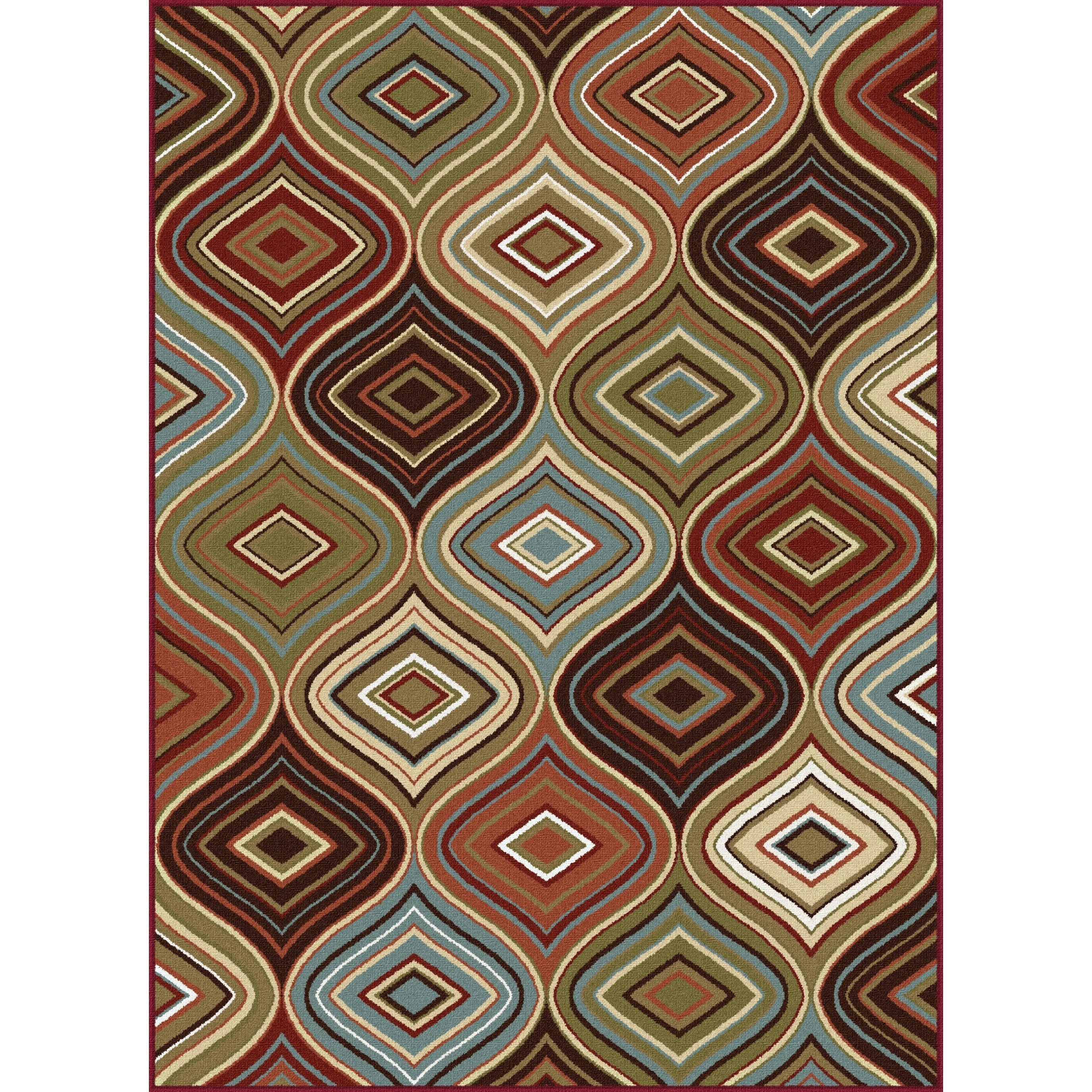 Alise Rugs Majolica Contemporary Multicolored Nylon Area Rug 9 3 X 12 6 Multi Size 13