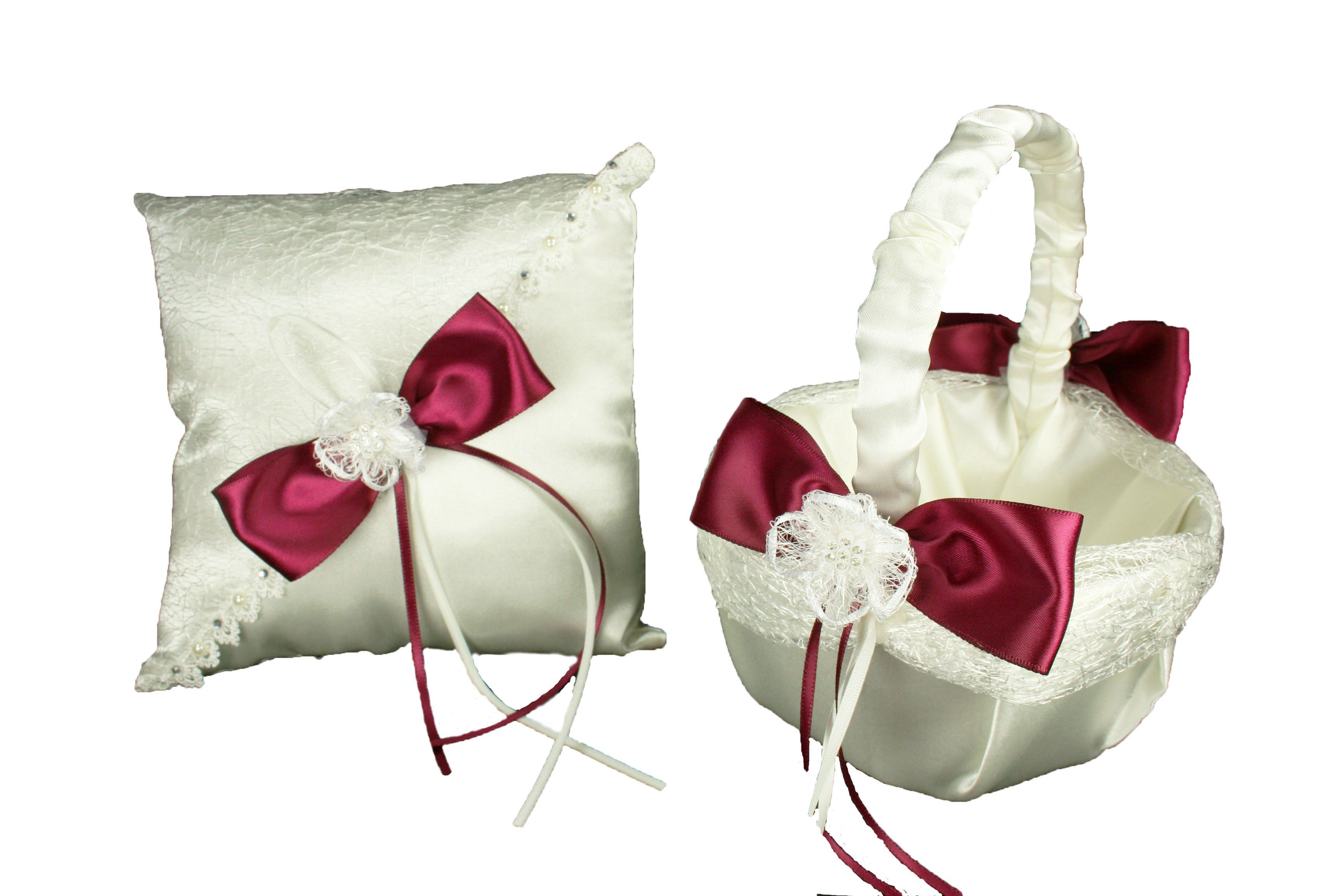 Ivory wedding basket u ring pillow set sisal mesh design satin bow
