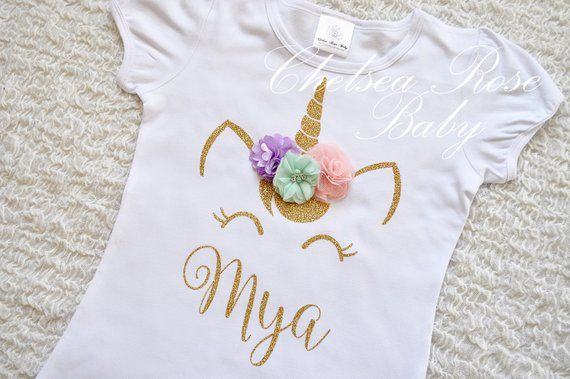 Pink And Gold Unicorn Birthday Shirt Personalized Outfit