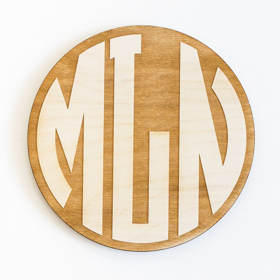 Circle Monogram Engraved Wood Sign Personalized Wooden Monogram
