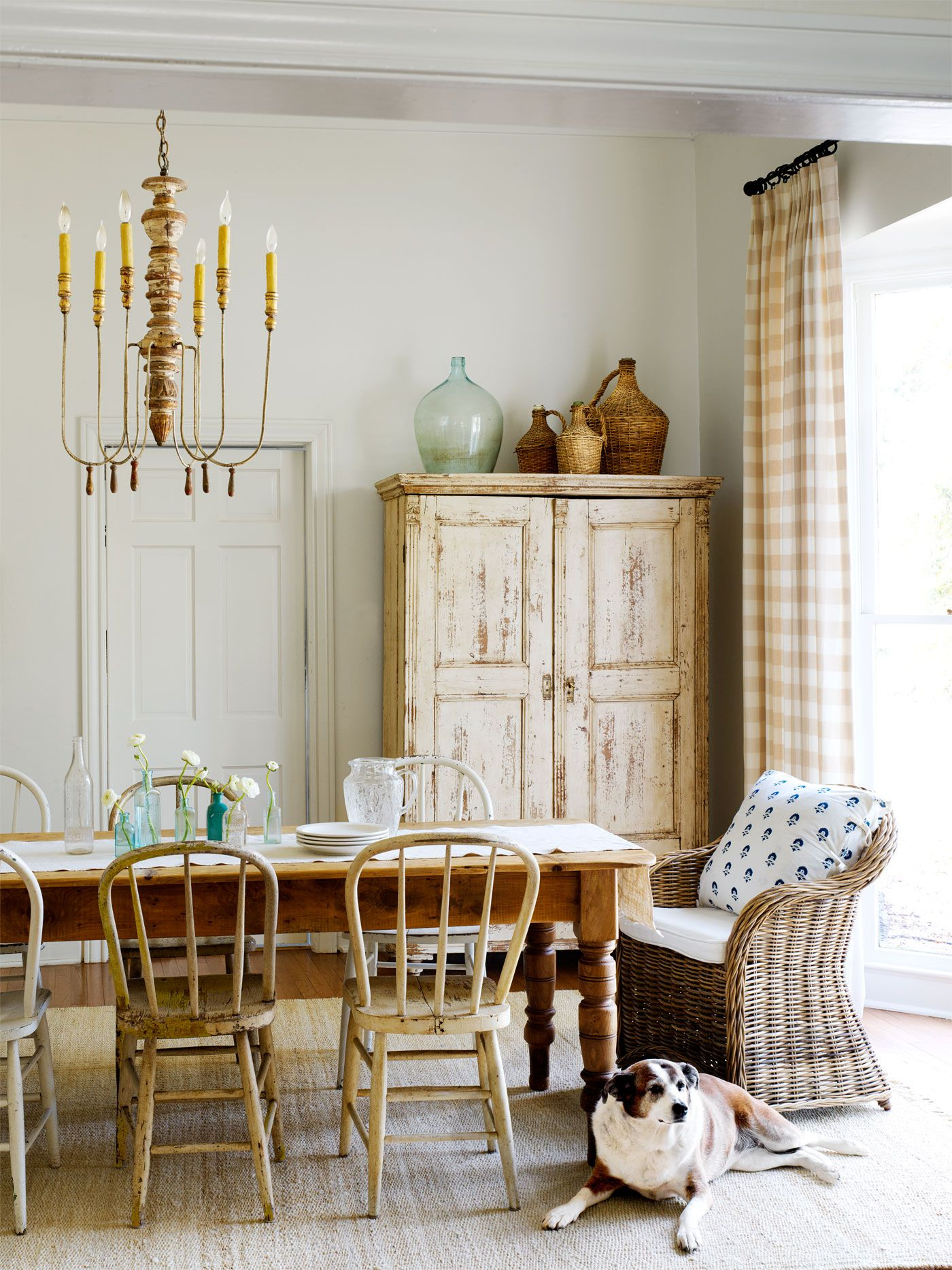 A Straight From The Store Dining Set Would Feel Far Too Formal For  Christiu0027s Down Home Style. Instead, She Purchased A Rough Hewn Farm Table,  Then Collected ...