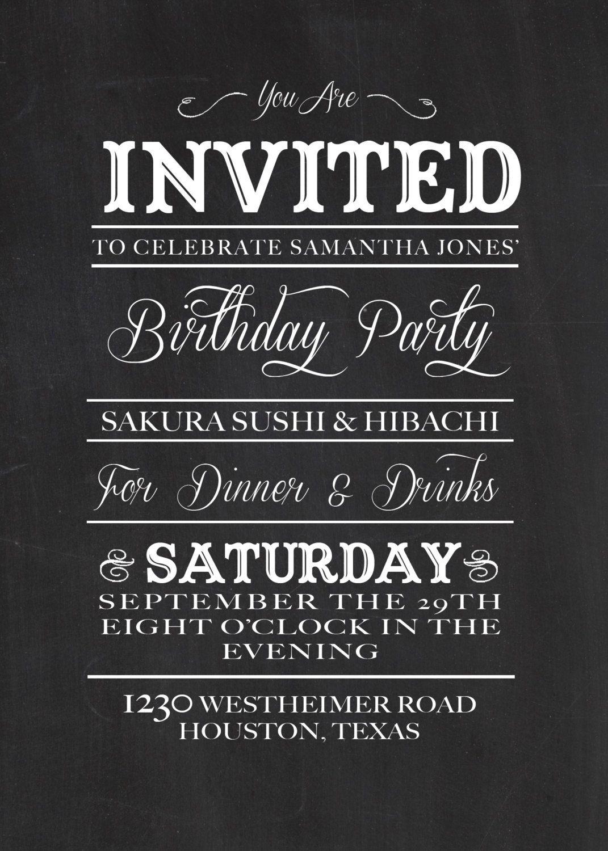 Chalkboard birthday invitation diy printable 1700 via etsy chalkboard birthday invitation diy printable 1700 via etsy filmwisefo
