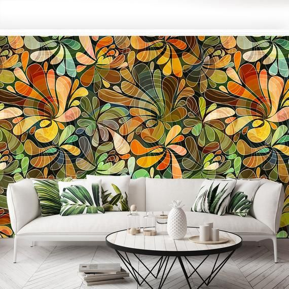 Florale Muster Floral Pattern Reusable Or Traditional Wall Mural ...