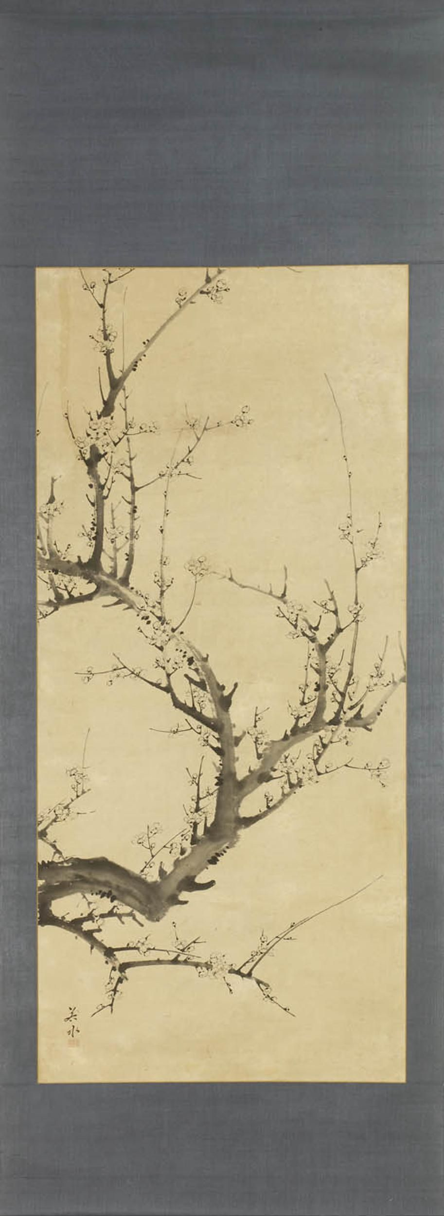 A paper kakemono (hanging scroll) painted with white ume (plum) blossoms in winter.  Signed: Jakusui sha (painted by Jakusui) - Seals:  Top: Ken Bottom: Jun - Japan 19th century Edo period