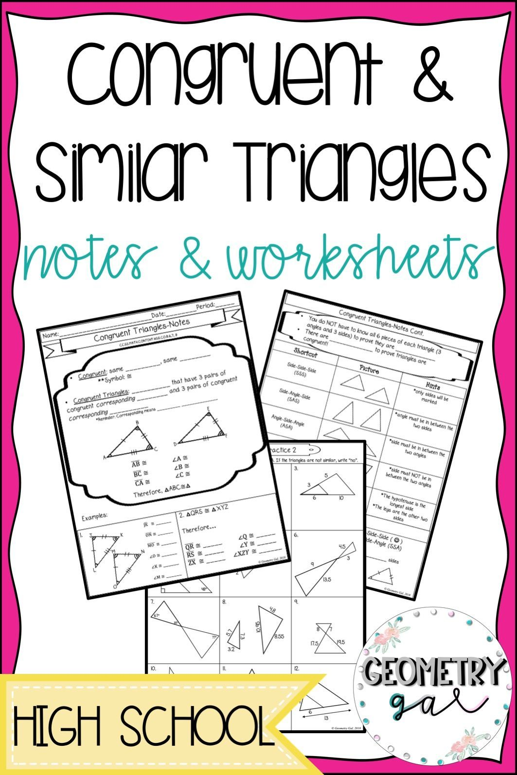 Congruent And Similar Triangle Notes And Worksheets Great