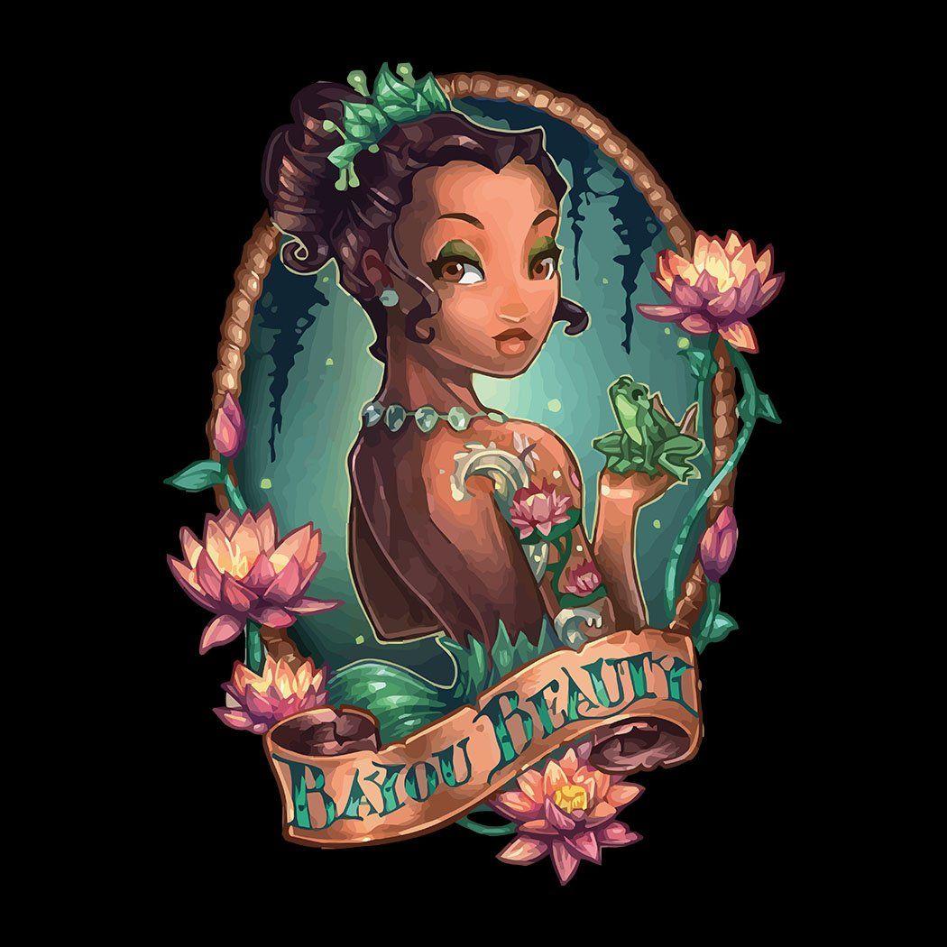 Princess The Frog Tiana Bayou Beauty Disney Tattoo Girl Pin Up Kids T