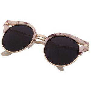 Preto Half-quadro lentes redondas dos óculos de sol