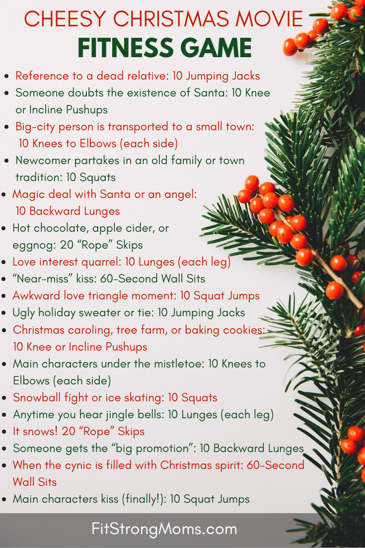 Enjoy That Hallmark Christmas Movie And Get A Workout In With This Cheesy Christmas Movie Fitness Game Cheesy Christmas Movies Christmas Movies Workout Games