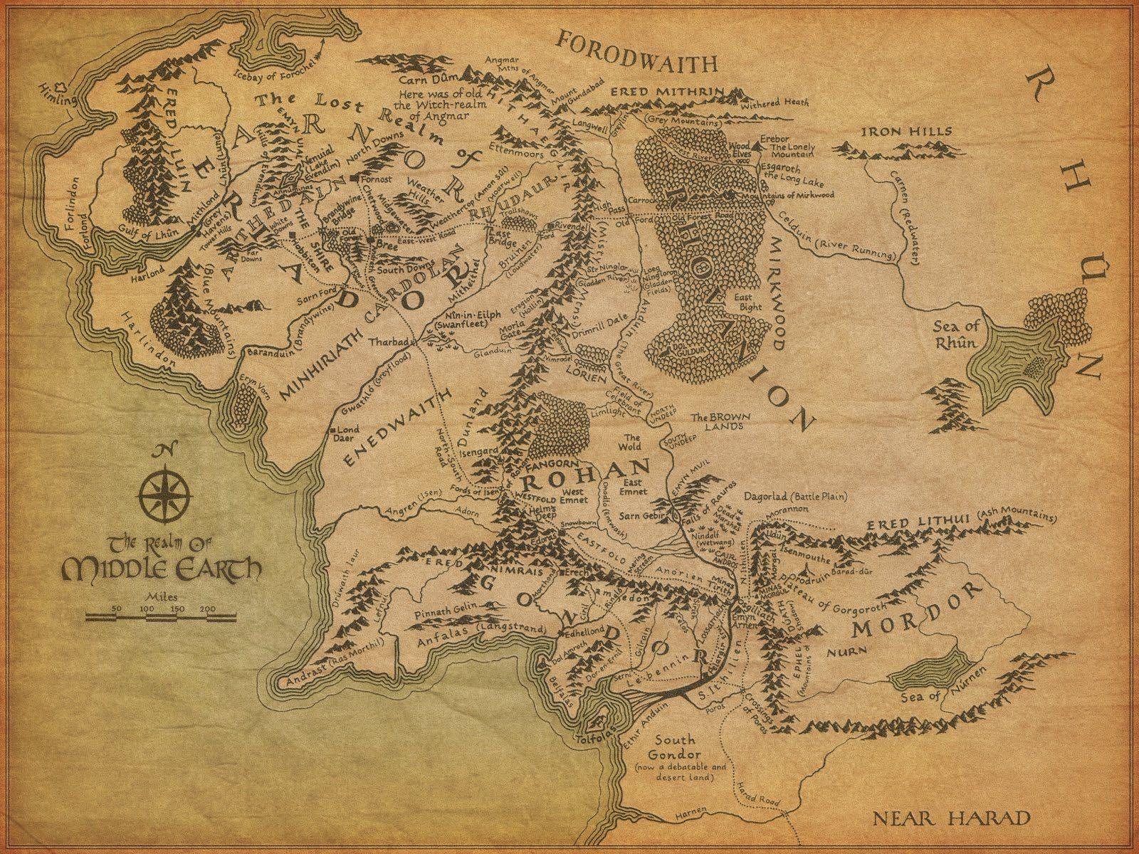 Map Of Middle Earth Pan Prstenu Hobbit A Stredozeme