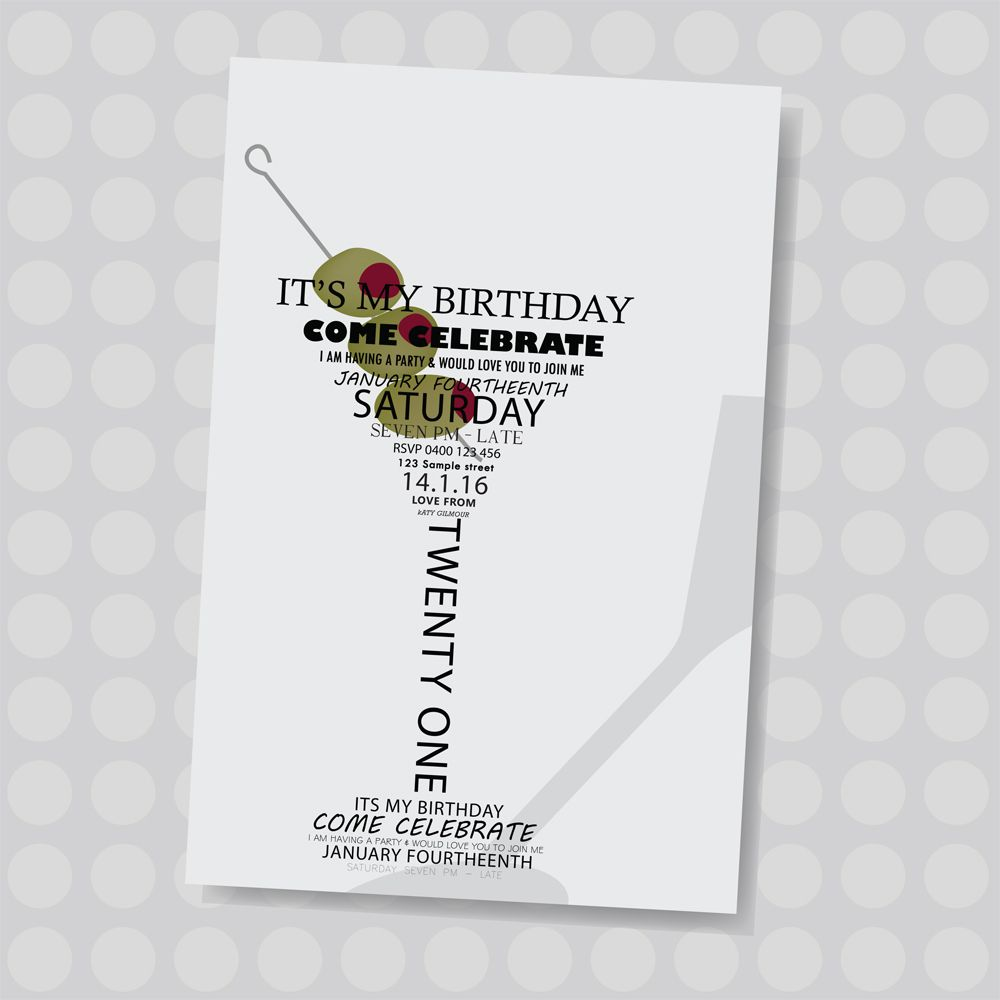 Martini glass with olives. Adult personalised birthday invitation ...
