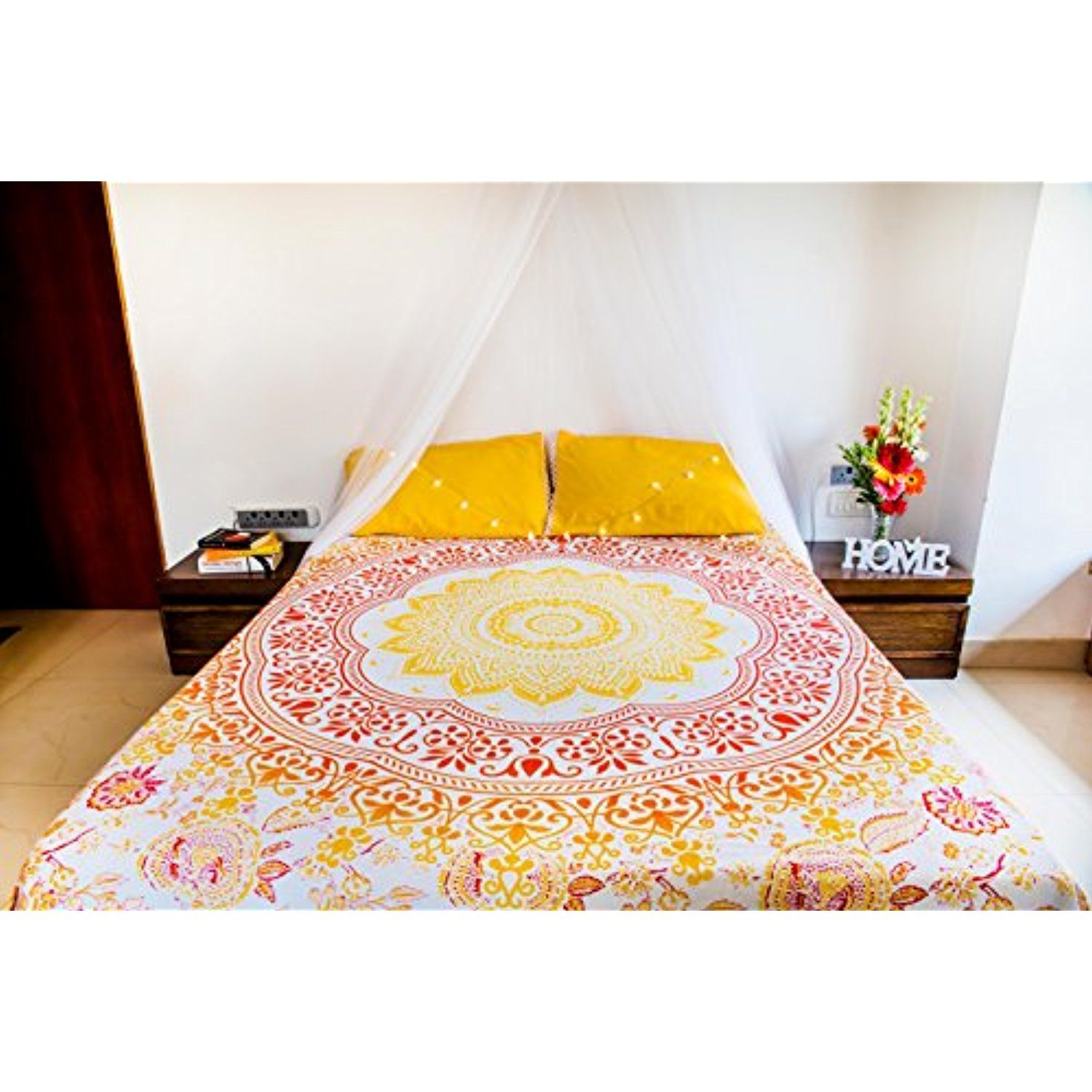 Folkulture Sunflower Mandala Tapestry Bedding With Pillow Covers